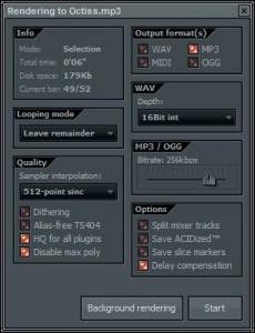 Рендеринг проекта FL Studio в wav,mid,mp3 и ogg