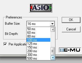 Изменение величины буфера звуковой карты E-MU 0202